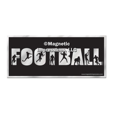 Football Word Car Magnet Chrome