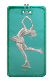 Figure Skater Layback Aqua Luggage Tag