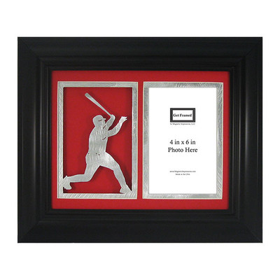"Baseball Batter Laser Cut Photo Frame with Mat Board for 4"" x 6"" Photograph Red"