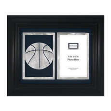 "Basketball Laser Cut Photo Frame with Mat Board for 4"" x 6"" Photograph Navy"