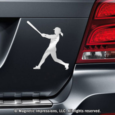 Softball Batter Swing Car Magnet in Chrome