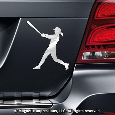 Softball Batter Swing Car Magnet in Chrome