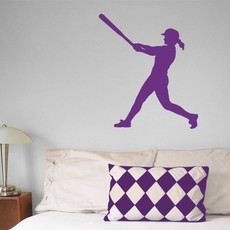 Softball Batter Swing Wall Décor in Lavender