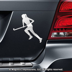 Field Hockey Player Run Car Magnet in Chrome
