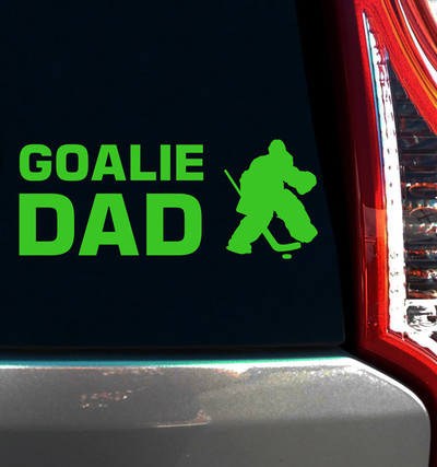 Hockey Goalie Dad Window Decal on car