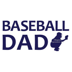 Baseball Dad Catcher Window Decal in blue