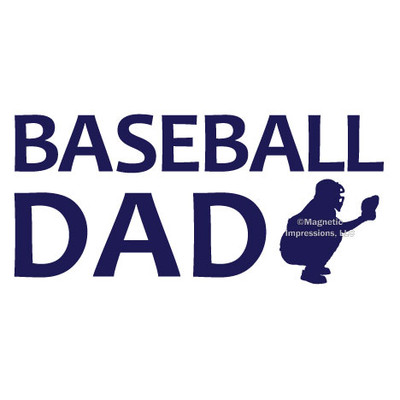 Baseball Dad Catcher Window Decal in blue