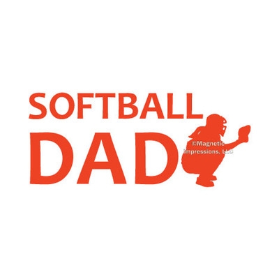 Softball Dad Catcher Window Decal in orange