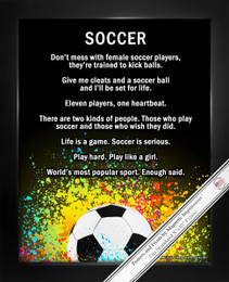 Framed Soccer Female Player Splatter 8x10 Sport Poster Print
