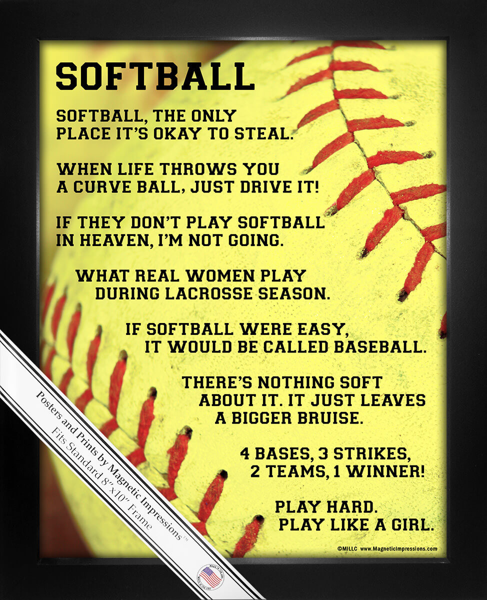 Motivational Softball Quotes: Softball Player Sayings 8x10 Sport Poster Print