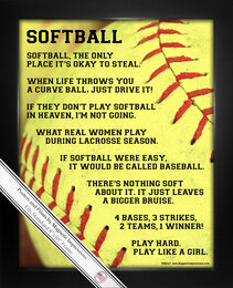 Framed Softball Player Sayings 8x10 Poster Print