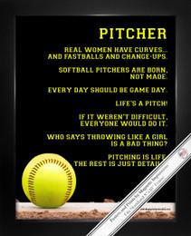Framed Softball Pitcher 8x10 Sport Poster Print