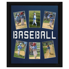 "Unframed Baseball Player Photo Mat Gift 16"" x 20"" for 4"" x 6"" Photos in Royal Blue. Frame and photos not included."