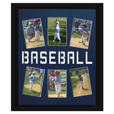 """Unframed Baseball Player Photo Mat Gift 16"""" x 20"""" for 4"""" x 6"""" Photos in Royal Blue. Frame and photos not included."""