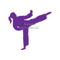 Martial Artist Kick Female Window Decal