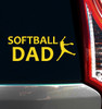 Softball Dad Pitcher Window Decal in yellow
