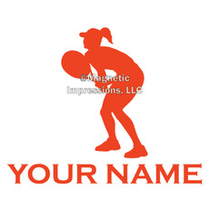 Tennis Female Ready Window Decal in Orange
