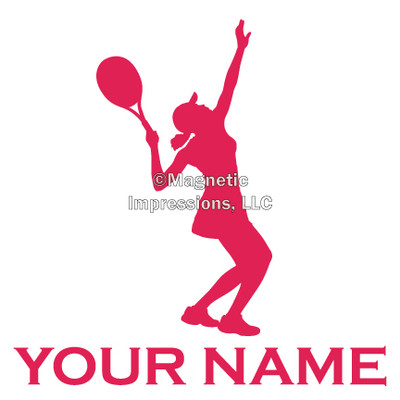 Tennis Female Serve Window Decal in Hot Pink