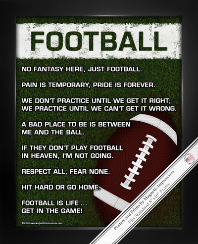Framed Football on Field 8x10 Sport Poster Print