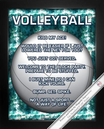 Framed Volleyball 8x10 Sport Poster Print