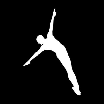 Diver Male Car Window Decal in White