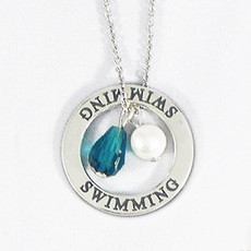 Swimming Crystal  Sterling Silver Necklace