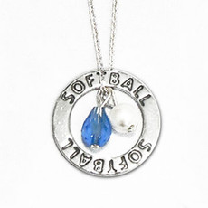 Softball Crystal Sterling Silver Necklace