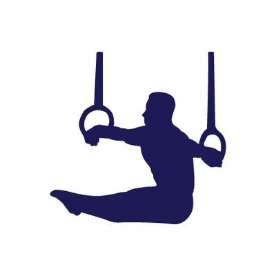 Gymnast Male on Rings Window Decal