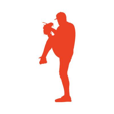 Baseball Pitcher Car Window Decal in Orange