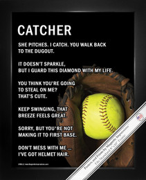 Framed Softball Catcher 8x10 Sport Poster Print