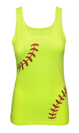 Women's Softball Laces Fitted Tank Top