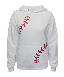 Women's Baseball Laces Hoodie Sweatshirt