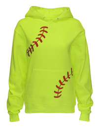 Women's Softball Laces Hoodie Sweatshirt in Neon Yellow