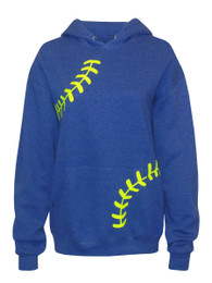 Women's Softball Laces Hoodie Sweatshirt in Blue Heather