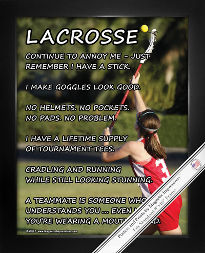 Framed Lacrosse Girl on Field 8x10 Sport Poster Print