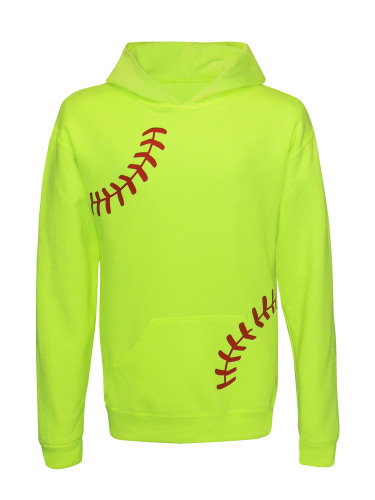 Softball Laces Girl's Youth Hoodie in neon yellow