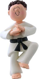 Brunette Male Martial Arts Ornament