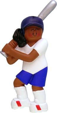 African American Softball Ornament