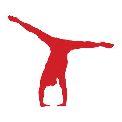 Gymnast Male Floor Car Window Decal in Red