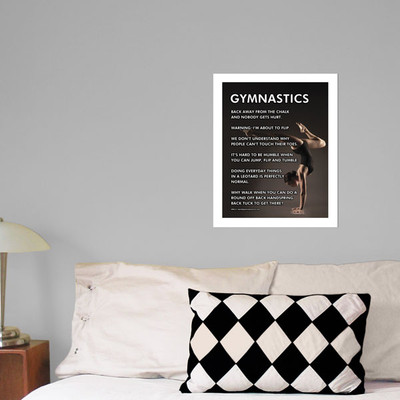 """Gymnastics Pose 13.75"""" x 17"""" Wall Decal in room"""