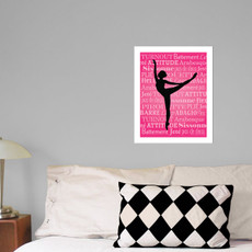 "Ballet Dancer Arabesque 13.75"" x 17"" Dance Wall Decal in room"