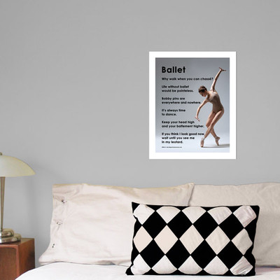 """Ballet on Pointe 13.75"""" x 17"""" Dance Wall Decal in room"""