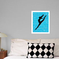 "Modern Dancer Leap 13.75"" x 17"" Dance Wall Decal in room"