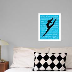 "Modern Dancer Leap 13.75"" x 17"" Dance Wall Decal in room"