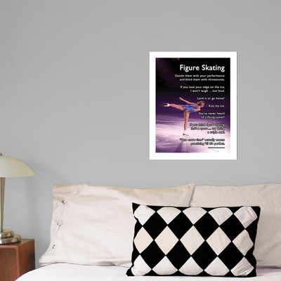 """Figure Skater on Ice 13.75"""" x 17"""" Wall Decal in room"""
