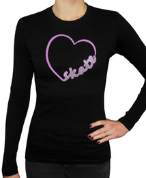 Women's Skate Heart Glitter Long Sleeved T-Shirt