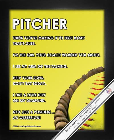 Framed Softball Pitcher Glove 8x10 Sport Poster Print