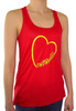 Women's Softball Heart Glitter Racerback Tank Top Shirt