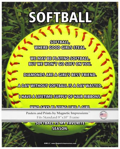 Unframed Softball on Field 8x10 Sport Poster Print