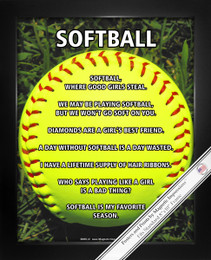 Framed Softball on Field 8x10 Sport Poster Print